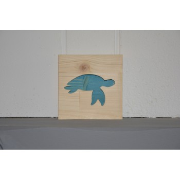 Cadre tortue marine en bois